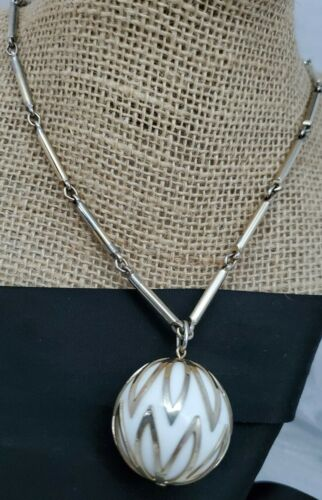 Mid Century Modernist Signed Orb Pendant Necklace and Matching Clip Earrings