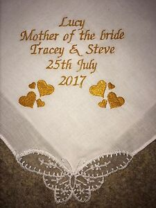 Image Is Loading Mother Of Bride Personalised Embroidered Handkerchief Wedding Present
