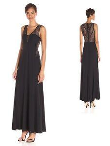 BCBG MAX AZRIA Ariel Lace-Inset Gown Crepe Evening Prom Dress ...