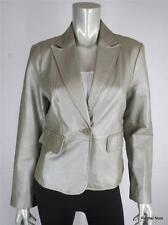 WORTHINGTON M Metallic Leather Gold Blazer Jacket Coat Med EUC