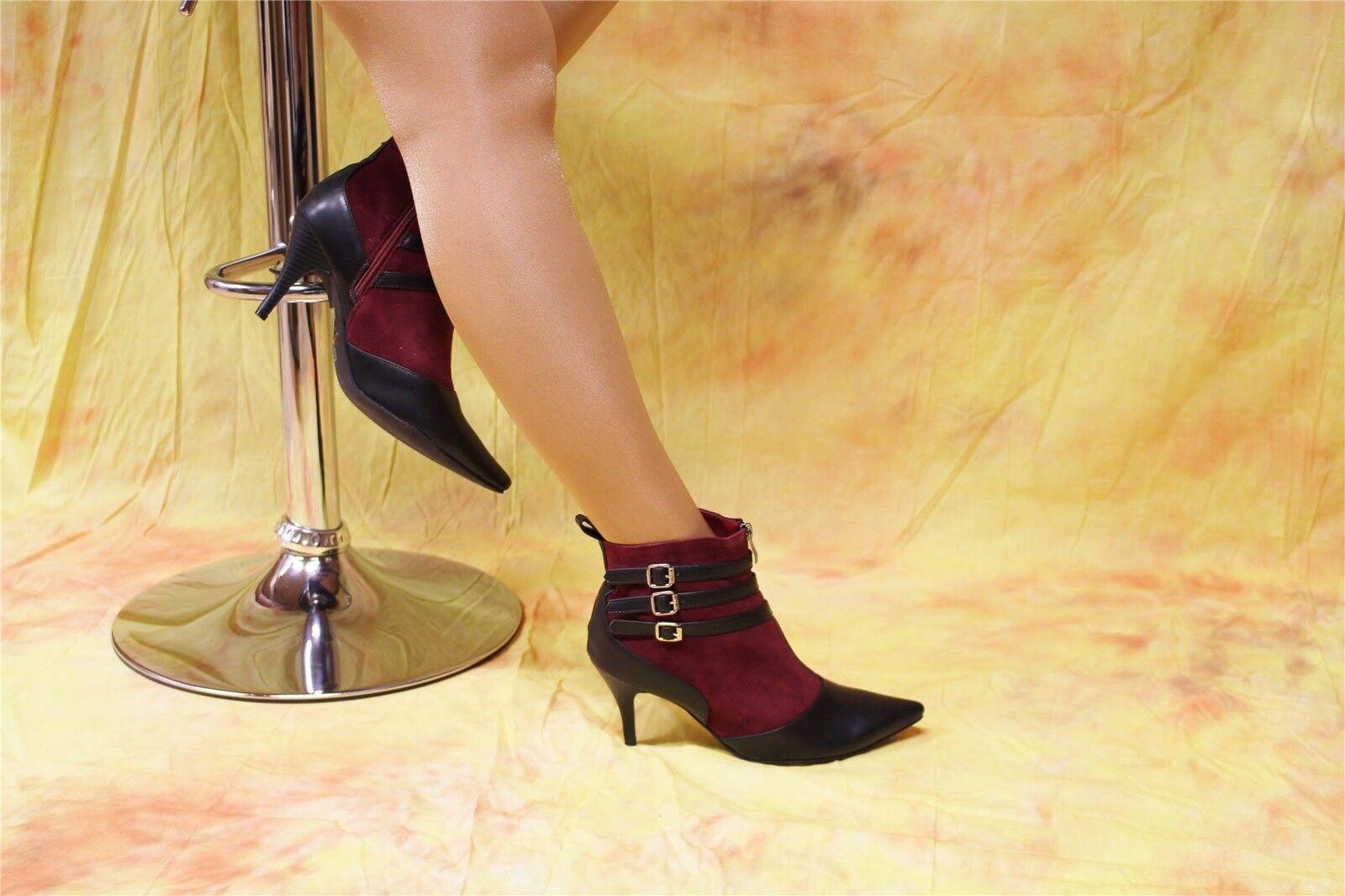 La moda de velourleder botines con zierriemchen negro-burdeos