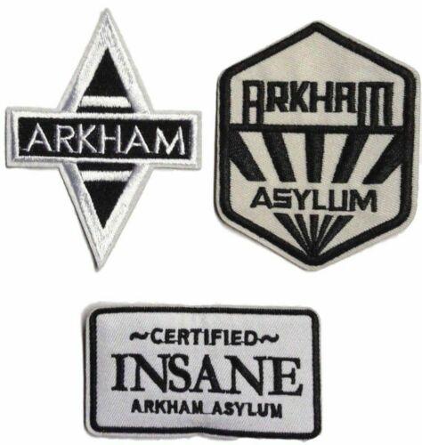 Batman Arkham Asylum Themed Embroidered Iron on Patch Set of 3