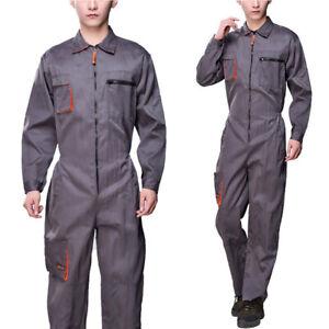 Grey Work Wear Men/'s Overalls Boiler Suit Coveralls Mechanics Protective