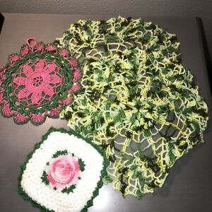 """Vintage Lot of 4 Hand Crocheted Doilies Pink and Green Flowers 5"""" to 11"""" Rounds"""