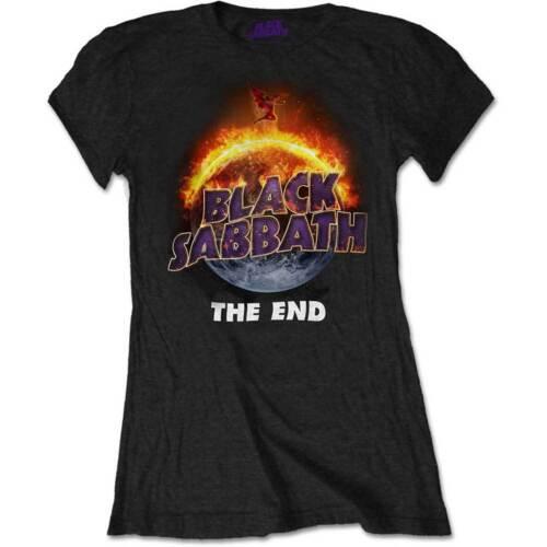 Black Sabbath The End Black Ladies Short Sleeve T-Shirt Women/'s Rock Official