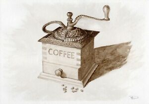 Coffee-Grinder-original-watercolor-still-life-painting-kitchen-restaurant-food
