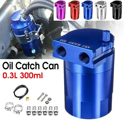 "300ml Universal Oil Catch Can Breather Baffled Aluminum Reservoir Tank 4.5/"" Kit"