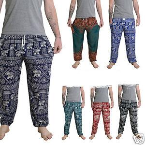Mens Thai Yoga Pants   Baggy Harem Trousers - Elephant Unisex ... 15831c9b12da