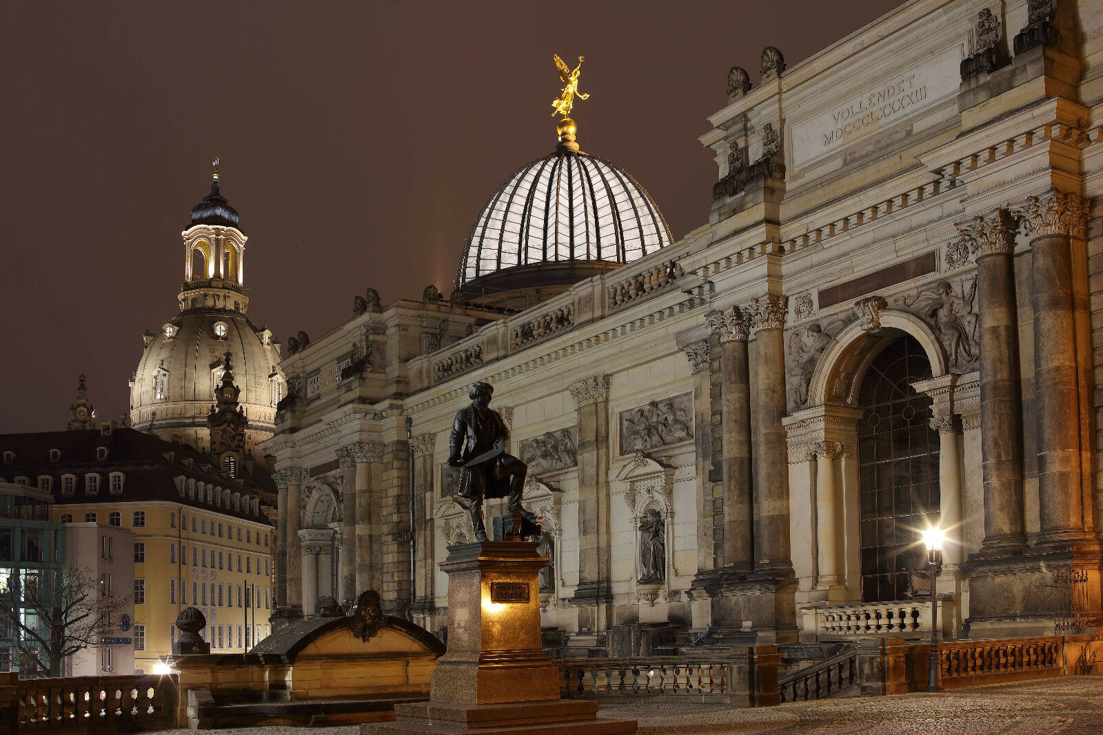 Alu-Dibond Wandbild - Dresden - Frauenkirche und Alexandreum b. Nacht II