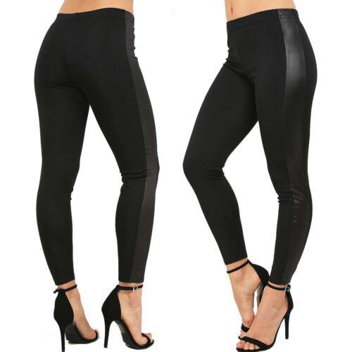 Plus Size Womens Black PVC Wet Look Ladies Side Patch Leather Look Legging