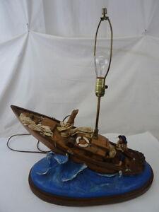 Vintage California Chalkware Originals Pelican Boat