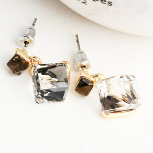 Damen Ohrring Würfel Form Anhänger Legierungen Kristall Ohrstecker Lange Ohrring