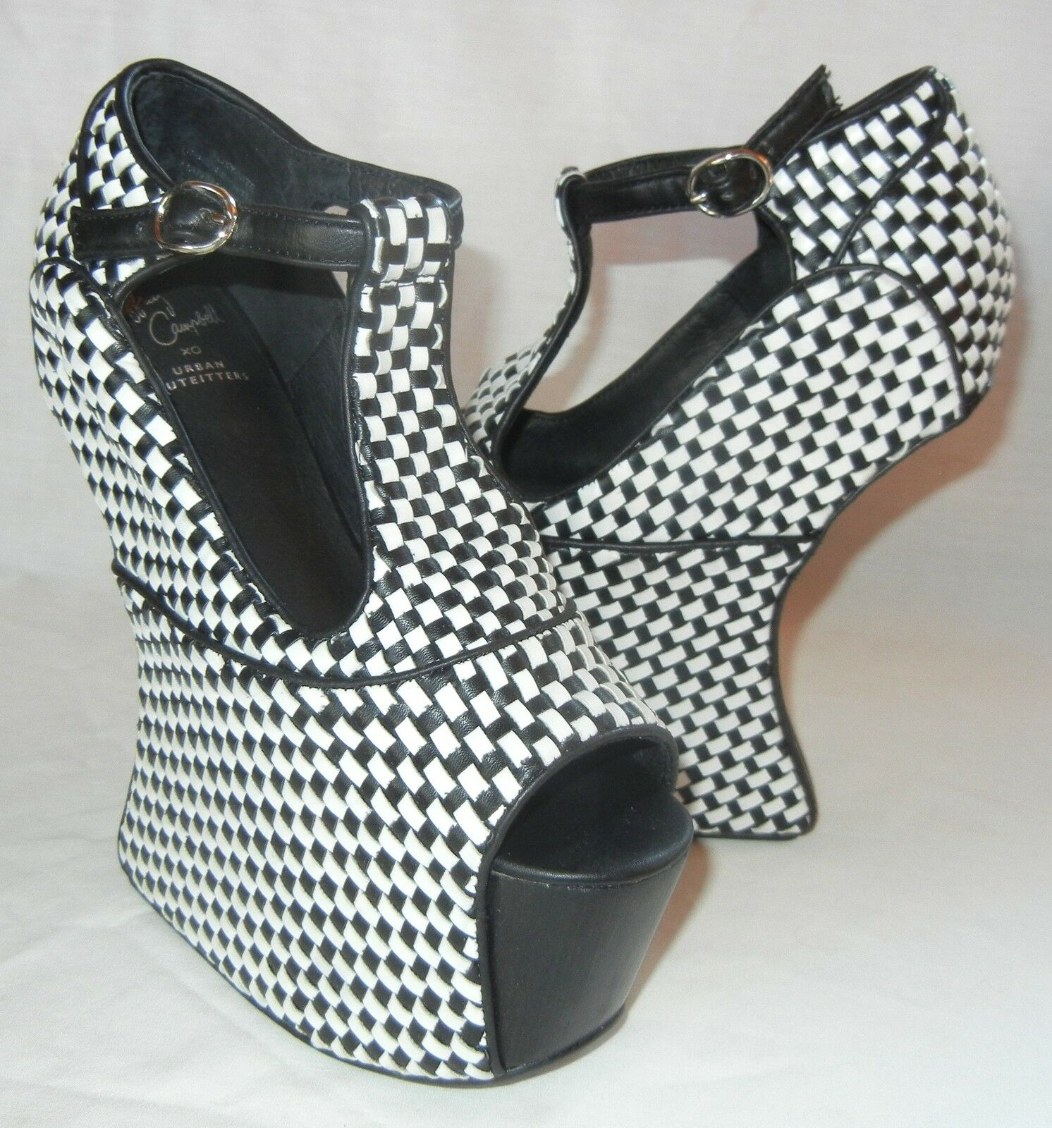negozio online outlet Jeffrey Campbell Donna  Foxy Nite nero and bianca bianca bianca Platform Heels Dimensione 6.5  benvenuto per ordinare