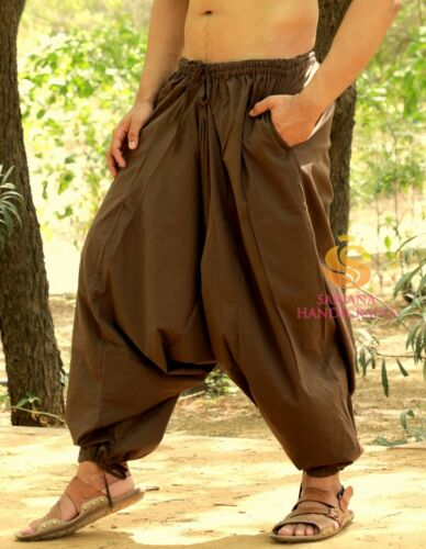 Men Cotton Brown Harem Yoga Pants Women Sports Harem Trouser Hippie Genie SC3