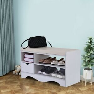 3-Tier-Shoe-Storage-Rack-Bench-2-Drawer-Shelf-Soft-Sponge-Seat-Stool-Organizer