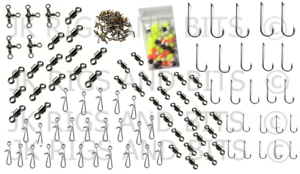 175 pc Sea Fishing Tackle Set to make Rigs Swivels Beads Bait Clips Hooks Crimps
