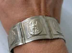 Vintage-Mexican-Sterling-Silver-Panel-Link-Bracelet-Aztec-Mayan-Story-30-039-s-Taxco