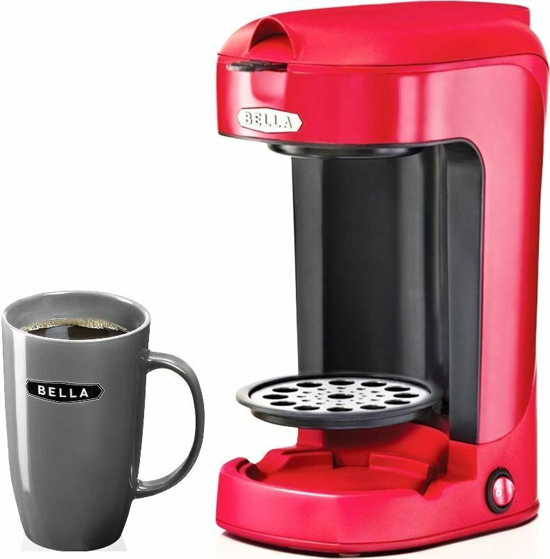 NEW  Single Cup Coffee Maker Red Bella W  Mug Compact and Easy Clean Filter