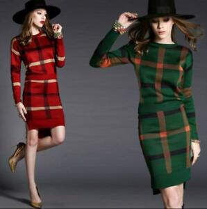 Women Sweater Knitted Wool Blend 2 Pcs Suit Dress Plaid Suits