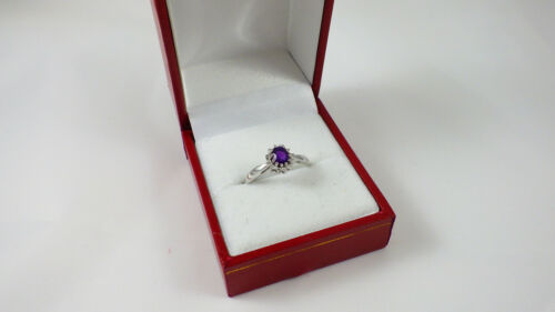 9CT WHITE GOLD AMETHYST /& DIAMOND CLUSTER ENGAGEMENT RING SIZE PRS