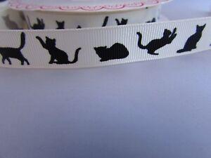 16 mm gros-grain ivoire ruban avec cat silhouette Design en 1 m- 5 m ET 10 m longueurs-afficher le titre d`origine Aa2f2hkI-07191544-317197739