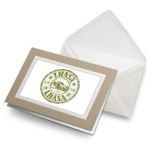 Greetings-Card-Biege-Lhasa-Tibet-Travel-Stamp-Tibetan-5808