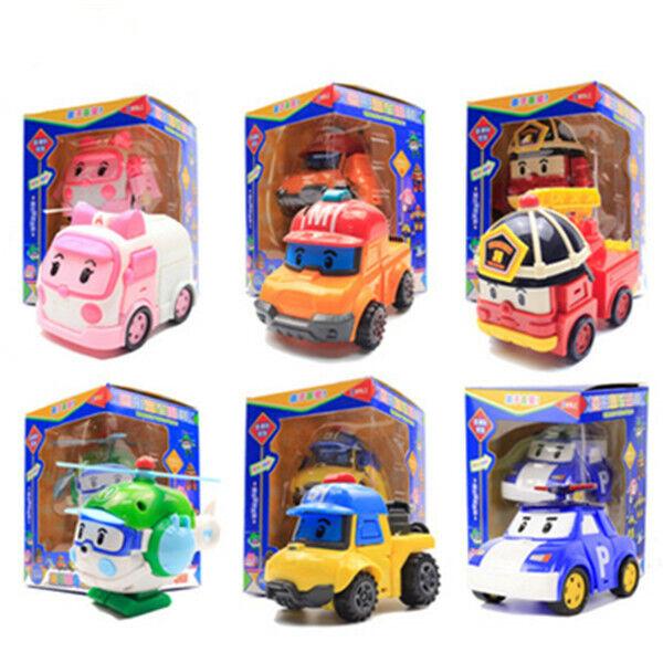 6Pcs Robocar POLI Toy ROY AMBER Robot Car Transformers Figure Toy Kids Gift New
