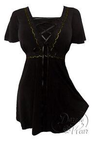 49eab270368 Plus Size Gothic Renaissance Angel Corset Top in Black Gold Lace 1X ...