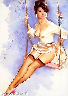 1940s Pin-Up Girl The Rose Swing Picture Poster Print Art Pin Up