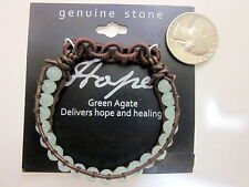 """Green faceted Agate Bracelet 2"""" diameter HOPE and HEALING stretch brown cord -"""