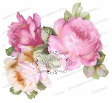 Vintage Image Shabby Romantic Bavarian China Pink Roses Waterslide Decals FL178