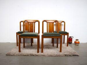 4 Set Lubke Mid Century Dining Chairs Esszimmerstuhle 60er Eiche Danish Grun Ebay