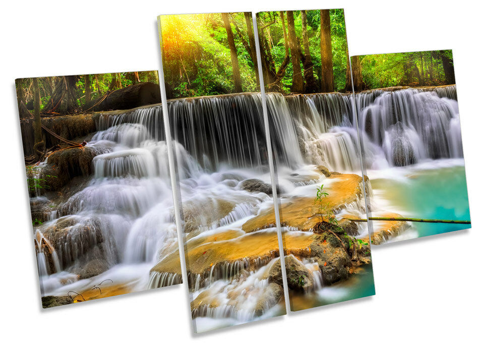 Paradise Waterfall Forest CANVAS WALL ART MULTI Panel Picture Print