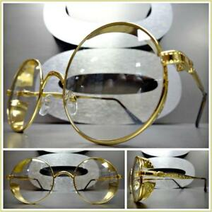 6ac520c848 Mens VINTAGE RETRO Style Clear Lens EYE GLASSES Round Gold Blinder ...