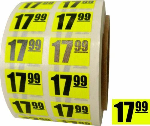 """17.99 $18 Sale Discount Price Labels Stickers DAY-GLO YELLOW .75/""""x.5/"""" Store Use"""
