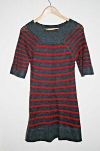 Woolly Woman S Lady S Striped Graphite Fashion Designer Top Tunic Size 10 Uk Ebay