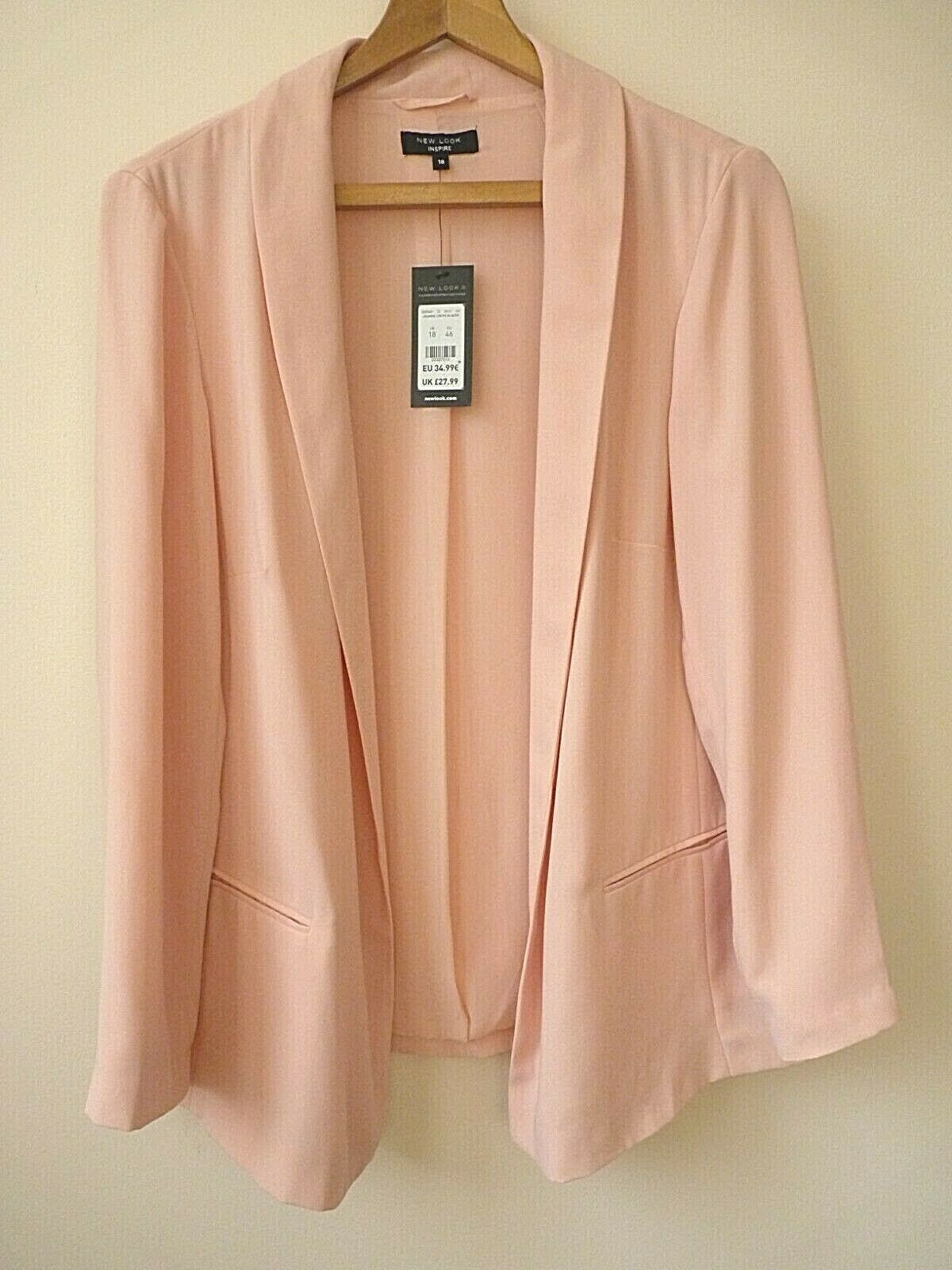 WOMENS EX NEW LOOK INSPIRE PINK CREPE OPEN LINED BLAZER JACKET CURVES 18-28