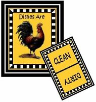 Rooster 1 - Dishwasher Magnet (clean/dirty) Ship Free