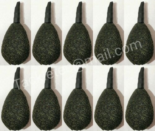 10 x Inline Flat Pear Leads CAMO BLACK TEXTURED Carp Leads Fishing Weights