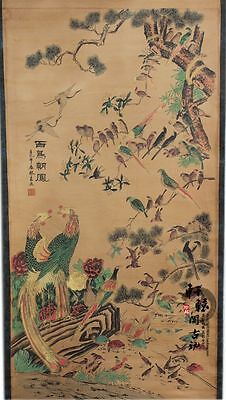 Rare antique chinese museum painting scroll//Birds Chaoyang//百鸟朝凤