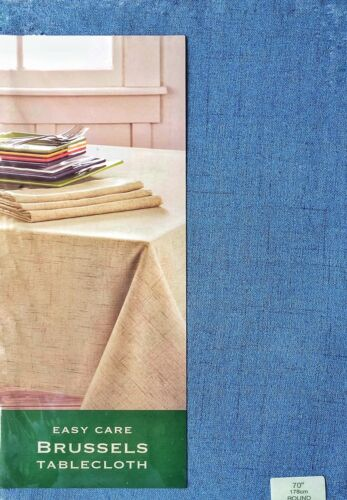 """Brussels fabric easy care tablecloth blue 70"""" round USA Seller"""