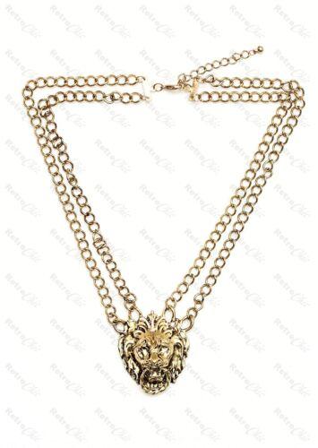 Cabeza de león aldabas Gran Vendimia Collar De Moda De Oro Cadena Hip Hop Bling