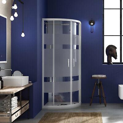 Box doccia 90x90 semicircolare vetro serigrafato profili alluminio bianco 185h