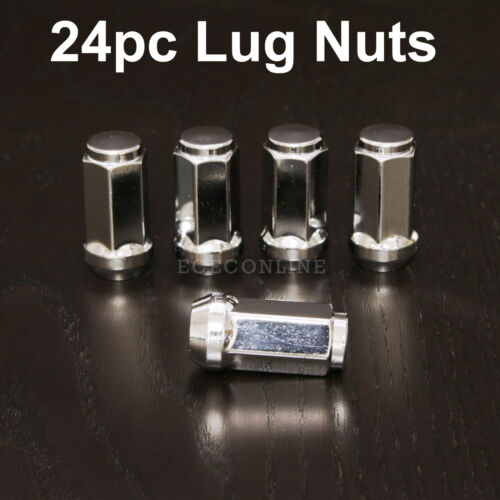 24pc 14x1.5 Chrome Lug NutsAcorn Bulge Long XL Tall Chrome SilverM14x1.5