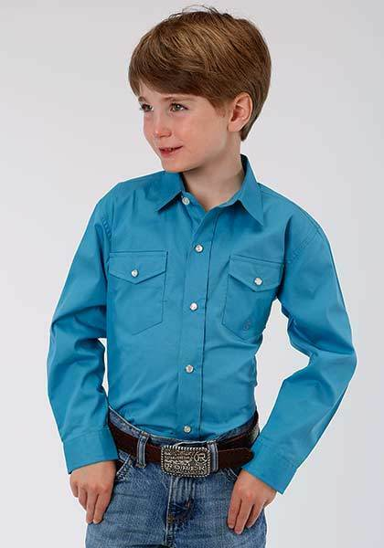 Boys Roper L//S Teal Brown Plaid Western Show Rodeo Dress Shirt S M XL Clearance