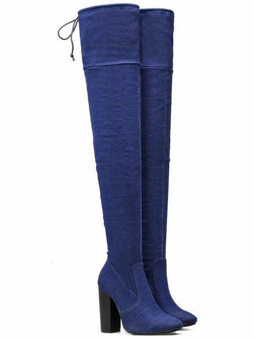 Bottes bottines blue doux genou cuisse talon 10.5 cm confortable 9463