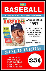 Image Is Loading 1957 Mickey Mantle Dell Baseball Magazine Poster Buy