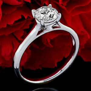 .67CT G/VS2 ROUND CUT ENHANCED DIAMOND SOLITAIRE ENGAGEMENT RING 14K WHITE GOLD