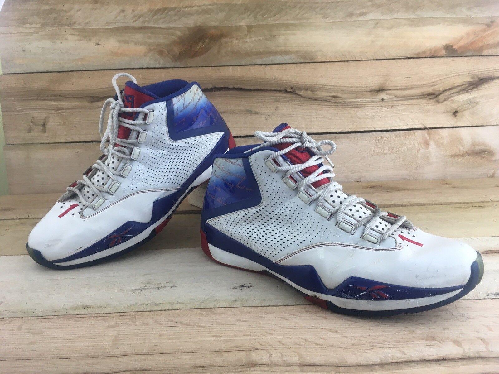 Reebok Mens White bluee Answer XII shoes Allen Iverson Basketball 4-J11339 Sz 14