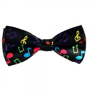 Men/'s Bow Tie Adjustable Pre Tied Music Notes Fancy Dress Black